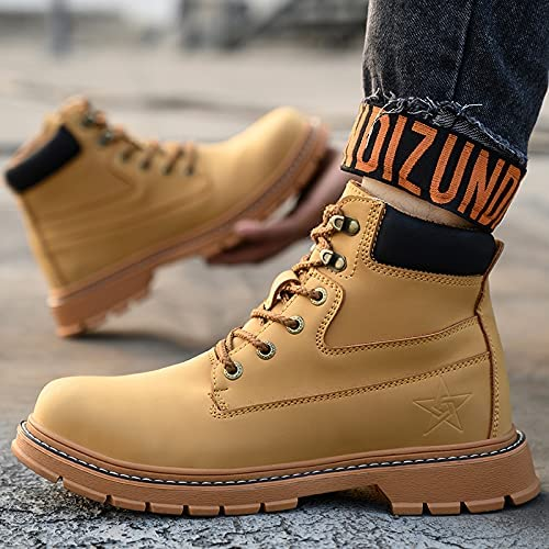 Mens Leather Square Toe Cowgirl Boot Mens Womens Steel Toe Work Safety Boots Womens Alloy Toe Pull on Work Boots Waterproof, Non-Slip And Oil Resistant