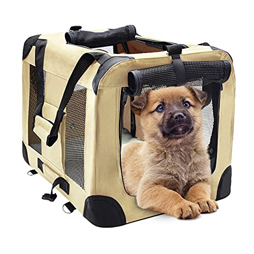 """MIEMIE Soft Collapsible Dog Travel Crate Portable Dog Kennel with Straps and Mat, Pet Carrier - Great for Indoor and Outdoor Use (23"""" L x 17"""" W x 17"""" H, Khaki)"""