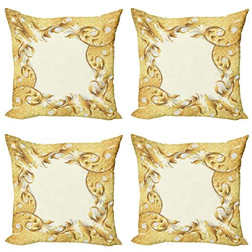 ABAKUHAUS Clásico Set de 4 Fundas para Cojín, Ornamento Floral de Oro, Estampado Digital en Ambos Lados y Cremallera, 60 cm x 60 cm, Amarillo Crema