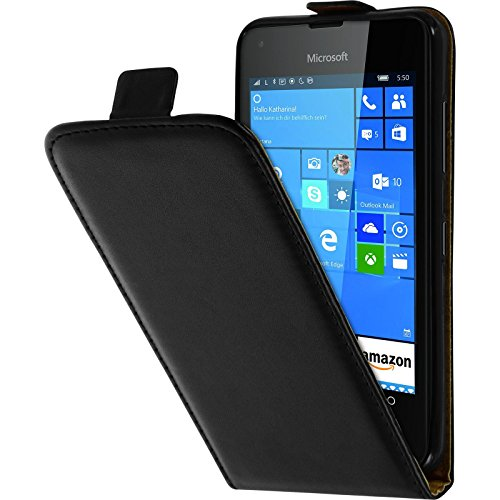 PhoneNatic Kunst-Lederhülle kompatibel mit Microsoft Lumia 550 - Flip-Hülle schwarz + 2 Schutzfolien