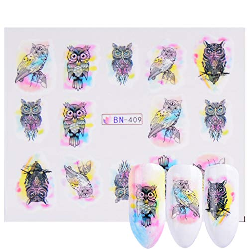 QSDFG 1 stuk nagel stickers Dreamcatcher water bonte bloem nail art decals decoratie sjabloon manicure