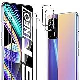 ELYCO Cristal Templado Compatible con Realme GT 5G/Realme GT Neo 5G/Realme X7 MAX 5G, [2 Piezas] Protector de Pantalla + [2 Piezas] Protector de Lente de Cámara, Antiarañazos, HD 9H Vidrio Templado