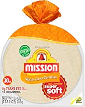Mission, White Corn Tortillas, 30 Count, 25oz Bag (Pack of 2)