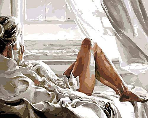 Hanzeze Pintar por Numeros Mujer Junto a la Ventana Principiantes Lienzo de Bricolaje Regalo de Pintura al óleo para Adultos niños Pintura por número Kits Decoraciones 40x50cm Sin Marco
