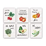 Funny Kitchen Art Prints,Set Of 6(8X10inch,Unframed) Beet Tomatoes Kale Vegetable Quote Canvas Poster,Botanical Farmhouse Style Wall Art For Restaurant DiningKitchen Room Decor