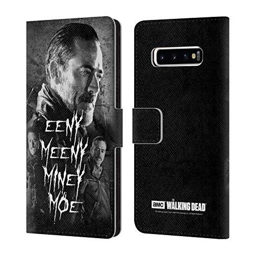 Head Case Designs Offizielle AMC The Walking Dead Eeny Miney SW Negan Leder Brieftaschen Huelle kompatibel mit Samsung Galaxy S10+ / S10 Plus
