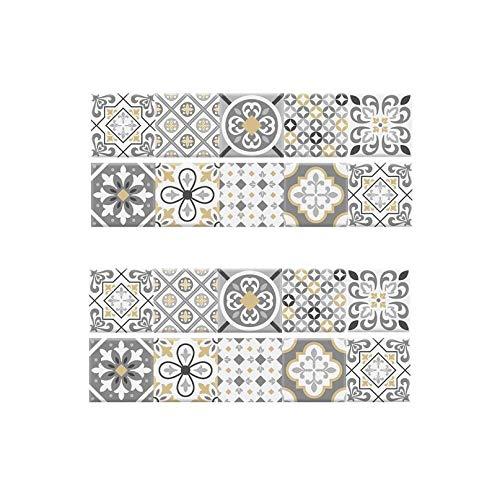 JRTILES Adesivi per Piastrelle 20x20cm x 20 Pezzi Wall Stickers da Mattonelle Parete in PVC Impermeabile Autoadesivo Decorazione per Cucina Bagno Fai da Te - Creativo Fiore Vintage