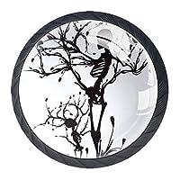 引き出しハンドルは、家庭用キッチンドレッサーワードローブアートスケルトン生命の木のための丸いクリスタルガラスを引っ張る