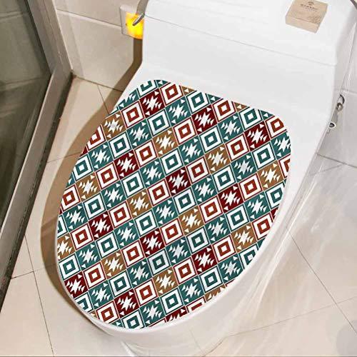 Homesonne - Adhesivos de inodoro impermeables azteca, diseño tribal vintage con motivos de arte extraíble para pared (16 x 44 cm)