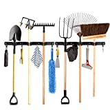 Timiful 2 Pack Broom Holder 17'' with 7X Wall Hanger. Broom and Mop Holder Wall Mounted. Laundry Room Storage, Tool Organizer, Garage Organization, Garden Tool Rack, Kitchen Organization,Black