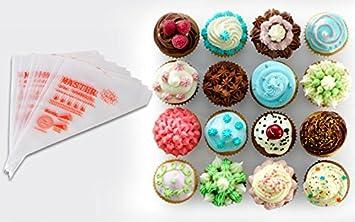 Gebkiiy 100 pcs Plastic Disposable Icing Piping Pastry Bag Cake Sugar craft Cupcake Decorating Size Large 25/¡/Á35/¡/Á38cm