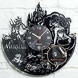 "Vinyra Vinyl Wall Clock compatible with Disney Little Mermaid Ariel Themed Home - Gift Set Idea for Kids, Adults, Girls, Women - Nursery Teen Kids Room Wall Art Vintage Decor 12"" LP Record Clock Black"
