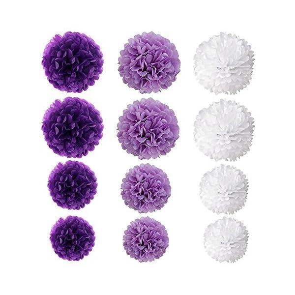 Wartoon Papel Pom Poms Flores Tissue para Decoración de Boda, Fiesta Cumpleaños, Bienvenida al Bebé, 12 Piezas ( Púrpura…