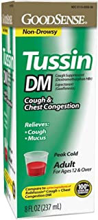 GoodSense Tussin DM Cough Suppressant and Expectorant, 8 Fluid Ounce Cough Syrup, Sugar Free, for Adults Age 12 and Over, Temporarily Relieves Cough, Chest Congestion and Mucus