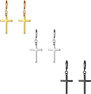 Dangle Stud Earrings,Flongo Men's Womens Stainless Steel Pearl Cross Dangle Hinged Stud Earrings,Piercing Christmas Cross Huggie Hoop Earrings Gift for Men Women Wedding Valentine's Day