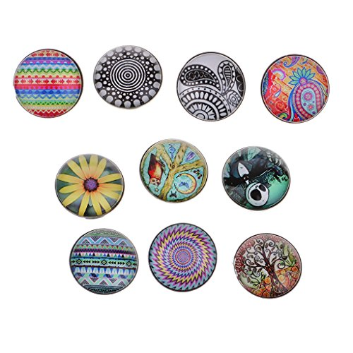 freneci 10 Pcs Mixed Pattern Snap Buttons Jewelry Charms DIY Embellishment Crafts