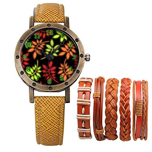Meisjes Merk Retro Brons Vintage Lederen Band Dames Meisje Quartz Horloge Armband 6 Sets Abstract Bloemen 441.Bladeren Behang Patroon Naadloos