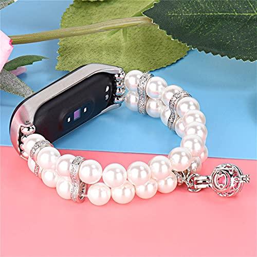 Pulsera de las perlas para las mujeres para la banda MI 6 5 4 3 Cinturón de observación de la correa de la perla Faux para la pulsera MIBAND con el marco de metal