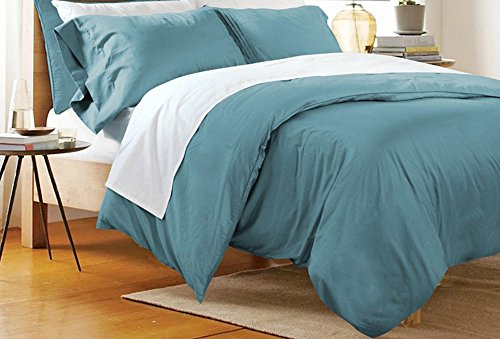 FADFAY 3 Piece Duvet Cover Set Twin, 100% Cotton Bedding Sets Teal, Fade and Stain Resistant, Hypoallergenic Bedroom Sets