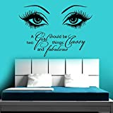 YHZSML Etiquetas de la Pared del Ojo Maquillaje Pegatinas de Vinilo Cita del salón de Belleza Fabulosa Decoración del hogar Papel Tapiz Murales 2 81x57cm