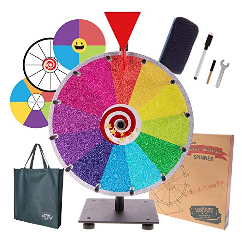 """Prize Wheel Spinning Wheel for Prizes - Dry Erase Spin Wheel Game Small 12"""" inch Tabletop Stand Spinner Board with 4 Color & White Wheels, Marker Pen, Eraser & Bag   Win Fortune Raffle Carnival Games"""