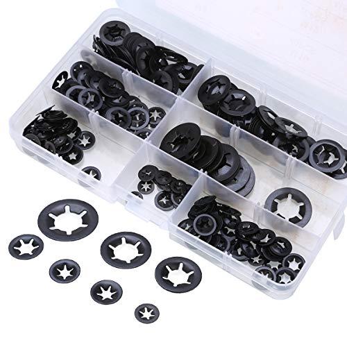 Juego de arandelas de bloqueo Starlock de 7 tamaños de 7 dientes, arandelas de bloqueo, clips de presión de velocidad, kit surtido M4 M5 M6 M8 M10 M12