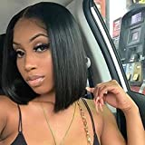 Bob Straight Wigs Lace Front Wigs Human Hair Bob Wigs with Pre Plucked Hairline Original Queen Human Hair Wigs for Black Women Natural Color 14inches