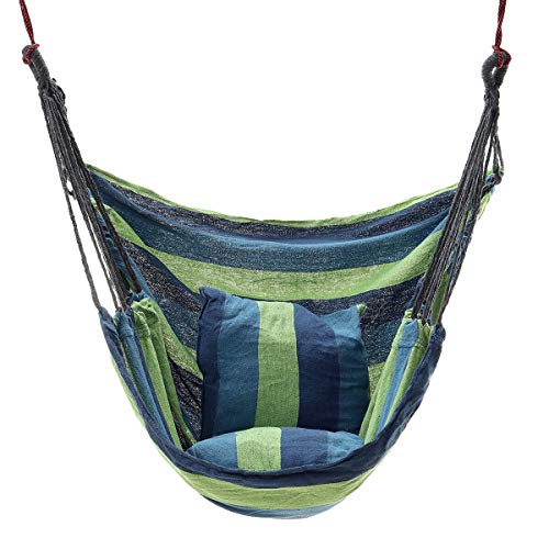 ARMENIAKON Canvas Chair Swing Hammock Hanging Chair Outside Indoor with Pillow Storage Bag Hammock (Color : Blue)
