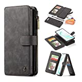 Bpowe Note 10 Plus Wallet Case,Multi-Function Zipper Purse with Detachable Magnetic Back Phone