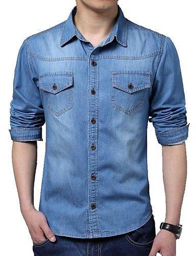 HAN-NMC Men's Casual/par Jour Plus Simple Taille Printemps Automne Shirt,col Classique Manches Longues Polyester Coton,XL,Blue