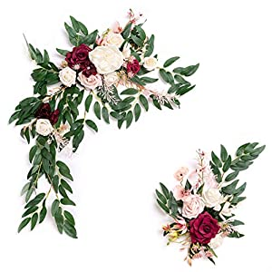 Ling's moment Artificial Flower Swag for Marsala Wedding Ceremony Sign Floral Decoration – Pack of 2