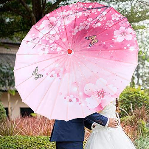 Raguso Chinesische Klassische Blumenschirm Regenschirm Papierdekoration für Party(Pink Butterfly Plum)