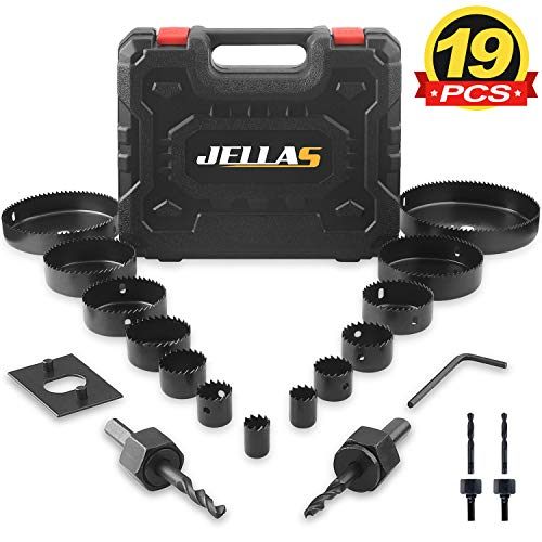 """Hole Saw Set, Jellas 19PCS Hole Saw Kit with 13Pcs Saw Blades, Max Size 6""""(152mm) and Min Size 3/4"""" (19mm), 2 Mandrels, 1 Installation Plate and 1 Hex Key, Ideal for Soft Wood, PVC Board"""