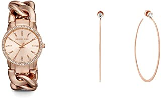 Michael Kors Women's Lady Nini Chain Watch, 3 Hand Quartz Movement with Crystal Bezel with Michael Kor's Women's Stainless Steel Hoop Earrings