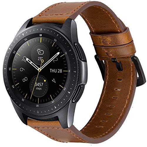 iBazal Correas 20mm Cuero Piel Pulseras Bandas Compatible con Samsung Galaxy Watch 3 41mm/Galaxy Watch 42mm/Active 40mm/Huawei Watch 2/Gear S2 Classic/Gear Sport/Ticwatch 2 (Reloj No Incluido) -Marrón