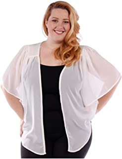 299f12b90075b Women s Plus Size Cascading Chiffon Bolero Cardigan Shrug Top