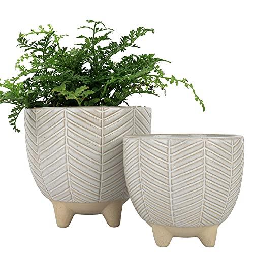 LA JOLIE MUSE Lot de 2 Jardinières sur Pied en Céramique - Pots de Plantes pour Table Décor Boho avec Trou de Drainage, Cadeau de Décor d'Intérieur, Beige, 14,5 cm + 11,6 cm