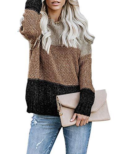 shermie Sweaters for Women Color Block Crewneck Sweaters Striped Knitted Pullover Sweaters (Medium, Khanki 2)