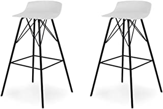 Tenzo Tori Lot de 2 Tabourets de Bar, Plastique, Blanc/Noir, 45 x 45 x 79 cm