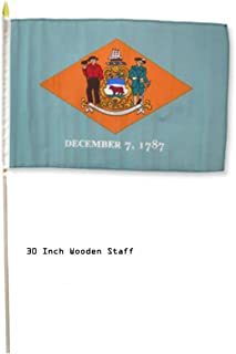 ALBATROS 12 in x 18 in (Pack of 3) State of Delaware Stick Flag 30in with Wood Staff for Home and Parades, Official Party, All Weather Indoors Outdoors