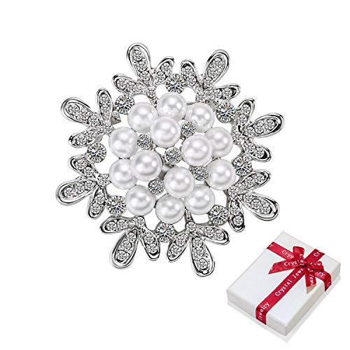 Broche de flor con purpurina perlas y pedrería, vestido de novia color...