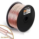 Manax Câble de Haut-Parleur Transparent 2 x 1,5mm² x 100m