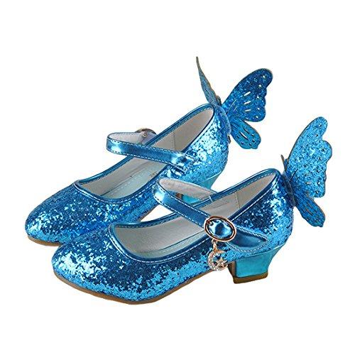 ON Mädchen Prinzessin Kunstlederschuhe Tanzschuhe Sandalette Stöckelschuhe mit Schmetterling Design