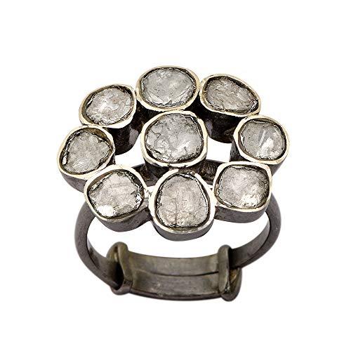 2,50 CTW Anillo de dedo Polki con diamantes naturales florales   Anillo floral de diseño victoriano hecho a mano   Plata de Ley 925