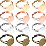 Herdear 40 Pieces Adjustable Flat Ring Blank Ring Flat Base Jewelry Finding Ring with 12 mm Ring Base, Silver, Gold, Rose Gold, Antique Bronze