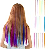 Wafly Bunte Haarteile 18 pcs, Haarverlängerungen mit Clips Regenbogen Perücke Party Highlight Clip...