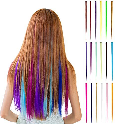 Wafly Bunte Haarteile 18 pcs, Haarverlängerungen mit Clips Regenbogen Perücke Party Highlight Clip Synthetisch Haarteil für Kinder Mädchen, Damen, 55 cm/21 Zoll-Haar Salon Versorgung (Gerade)