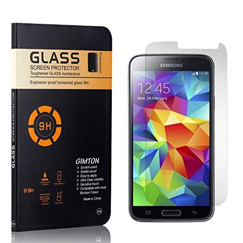 GIMTON Displayschutzfolie für Galaxy S5, 9H Härte, Blasenfrei, Anti Öl, Ultra Dünn Kratzfest Schutzfolie aus Gehärtetem Glas für Samsung Galaxy S5, 1 Stück
