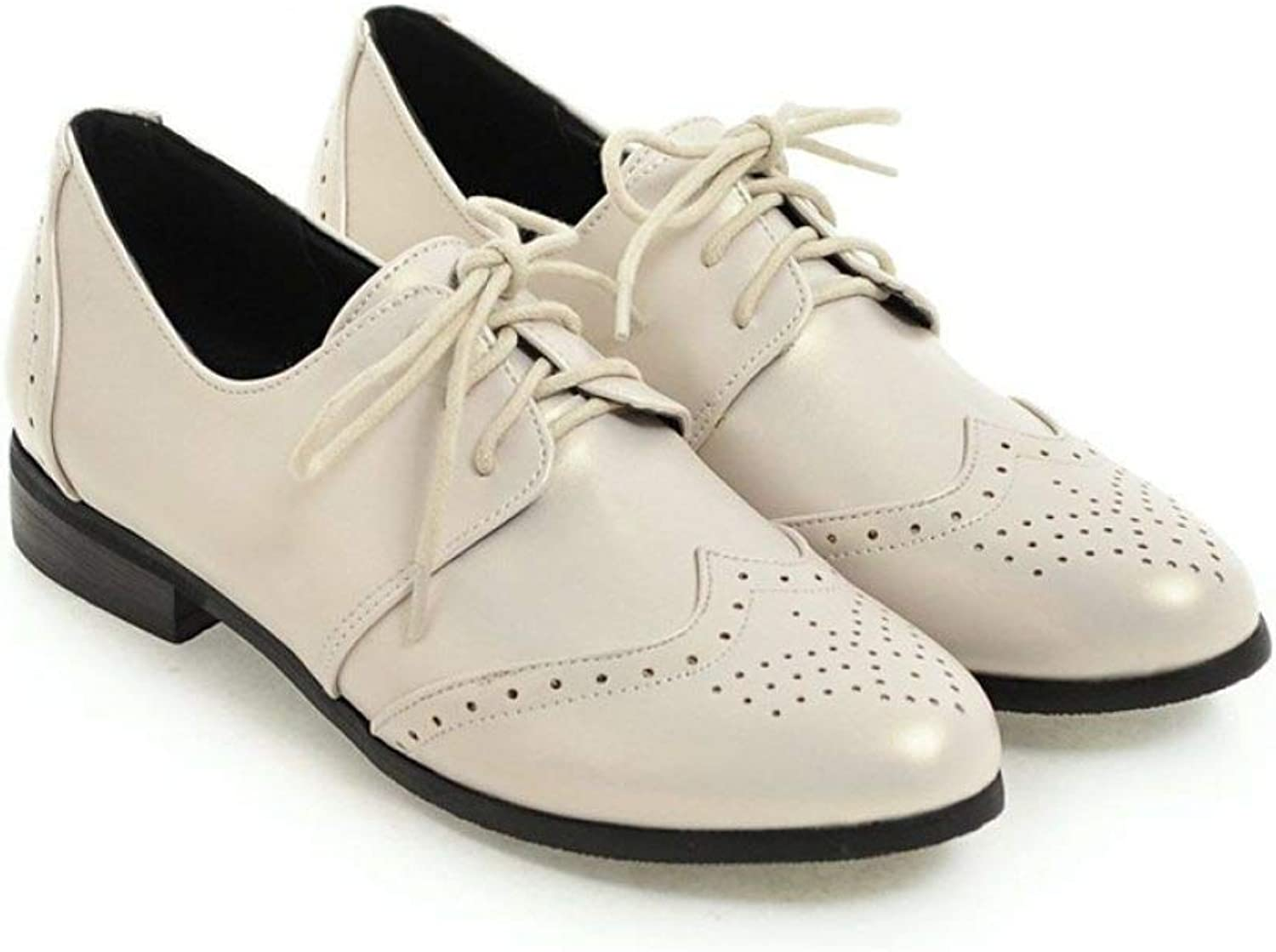 Fay Waters Women's Leather Perforated Oxfords Lace-up Low Heel Round Toe Brogue Wingtip Flat shoes