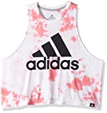 adidas Women's Athletics Festival Logo Crop top, White/Chalk Pink/Carbon, X-Large
